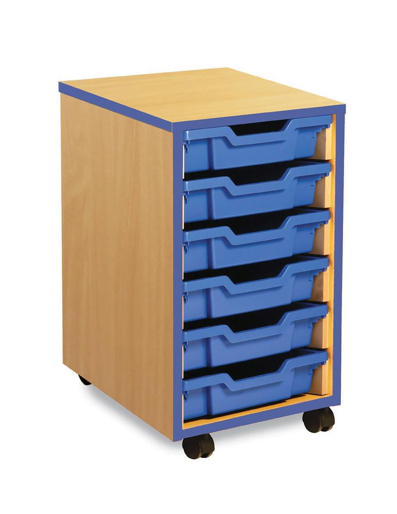 Coloured Edge Classroom Storage Unit Shallow Tray