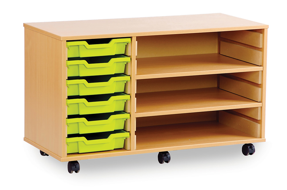 Shallow Tray Classroom Storage Units With Shelves