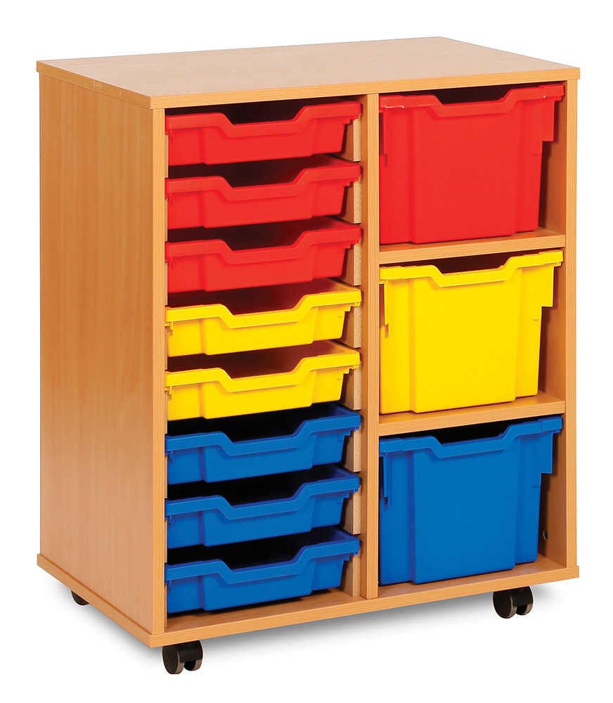 Variety Tray Classroom Storage Unit 8 Shallow 3 Extra Deep Trays
