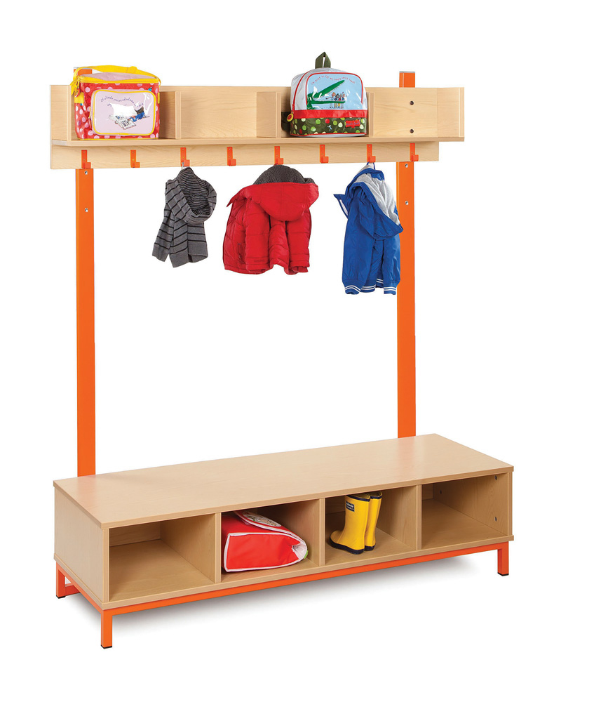 Bubblegum Cloakroom Storage Unit With Hooks and Compartments