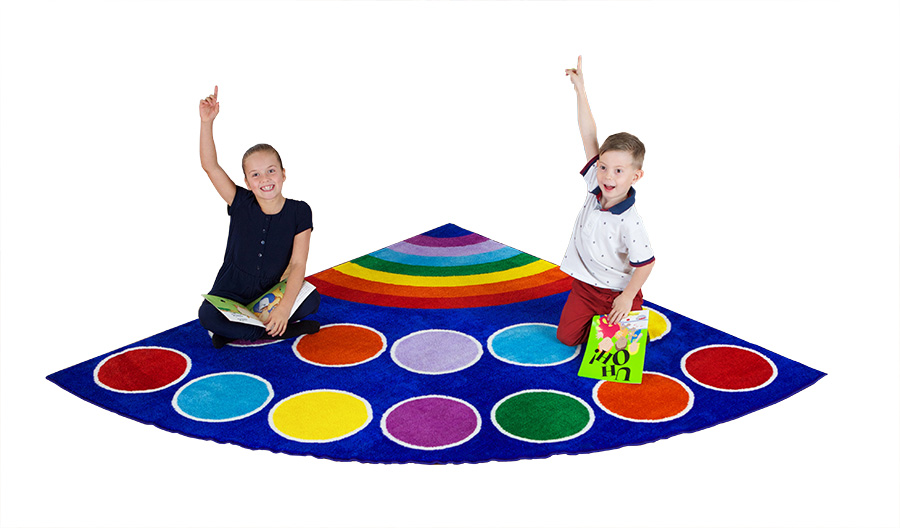 Rainbow Placement Semi-Circle Classroom Rugs