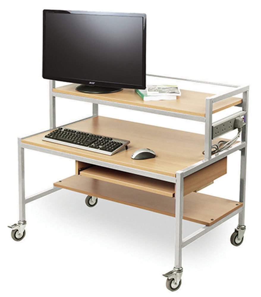 Two Tiered Computer Trolley