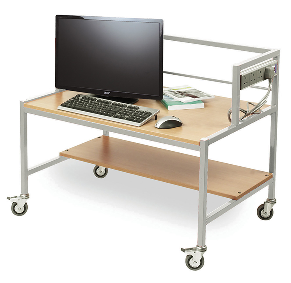 Single Tiered Computer Trolley