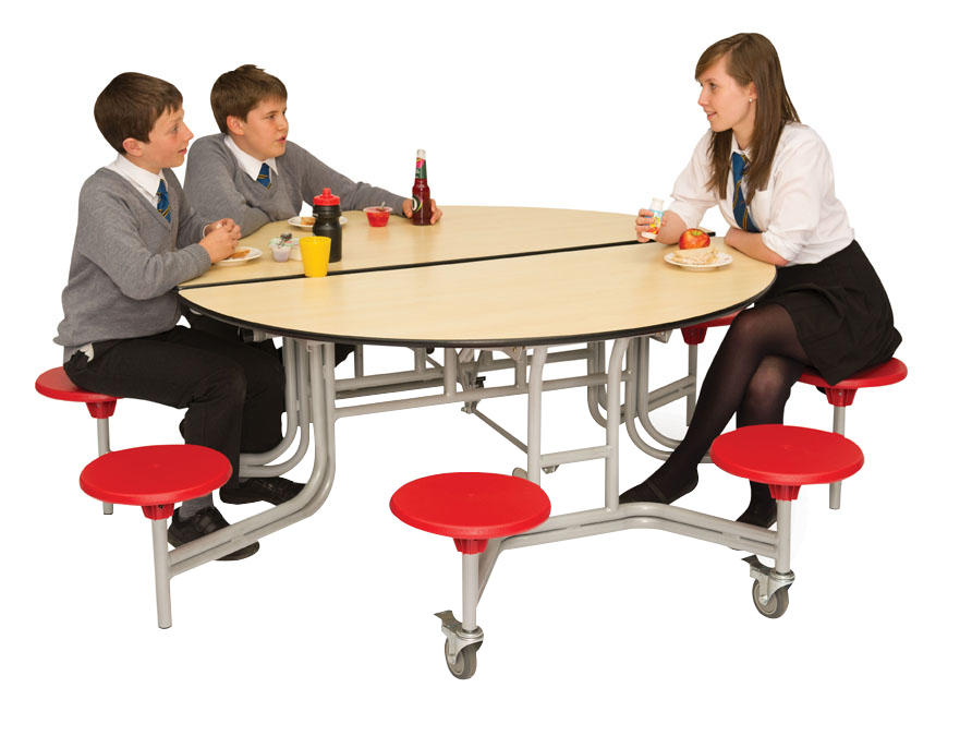 Round Mobile Folding Table Seating Unit