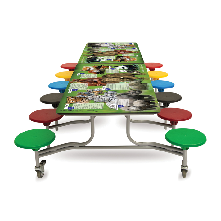 Rectangular Smart Top Mobile Folding Table Seating Unit